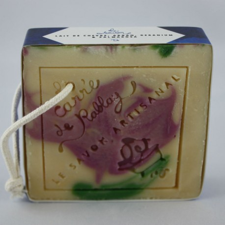Savon lait de chèvre, argan, géranium et palmarosa - Savon artisanal fabriqué en France